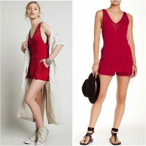 *FREE PEOPLE* Match Point Ruby Red Romper